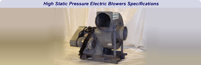 high static pressure electric blower table specifications